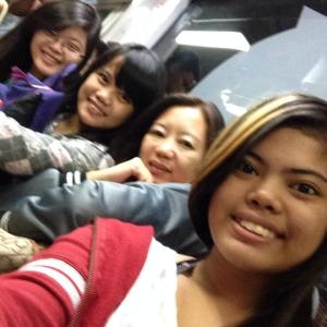 Us trying to show that we are on a train. But FAIL. No one's there to take some good photos.. MAMA HELPP!