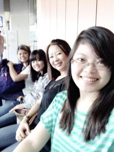 While waiting for our flight.